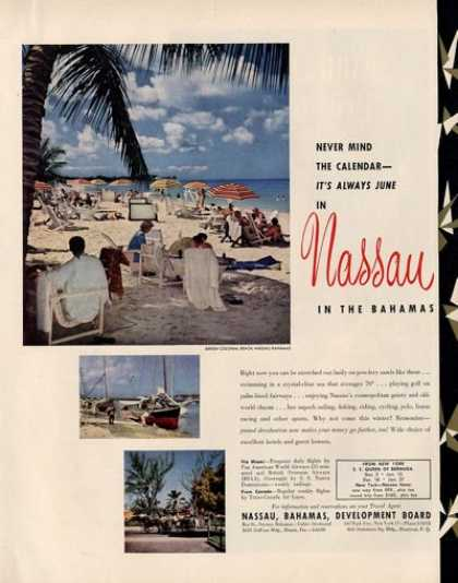 Nassau Bahama Travel Colonial Beach (1950)