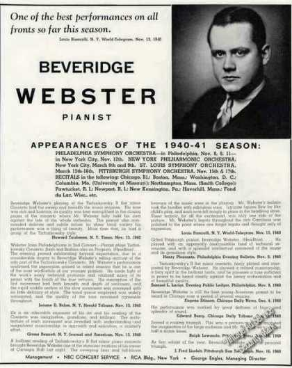 Beveridge Webster Photo Pianist Booking (1941)
