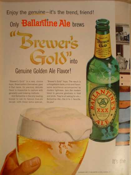Ballantine Ale Brewers Gold Beer (1957)
