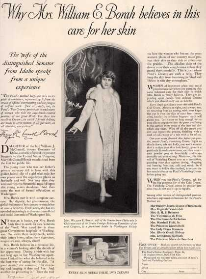 Pond's Extract Co.'s Pond's Cold Cream and Vanishing Cream – Why Mrs. William E. Borah believes in this care for her skin (1925)