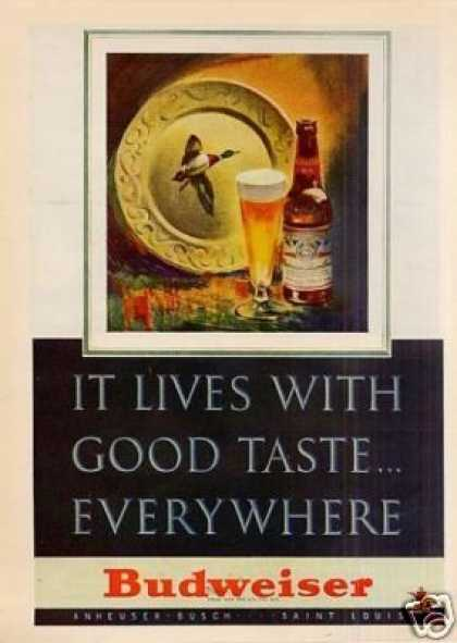 "Budweiser Beer Ad ""It Lives With Good... (1947)"