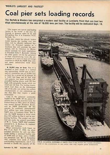 """Coal Pier Sets Records"" Article/n&w-lam (1963)"