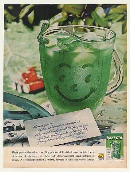 Green Kool-Aid Smiling Pitcher Boy Cut Grass (1961)