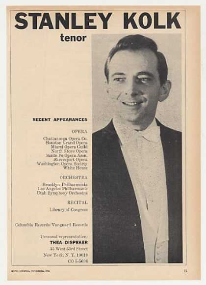 Tenor Stanley Kolk Photo Booking (1964)