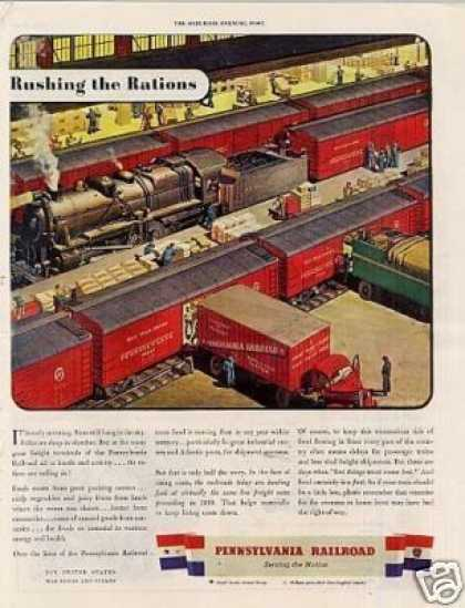 "Pennsylvania Railroad Ad ""Rushing the Rations... (1943)"