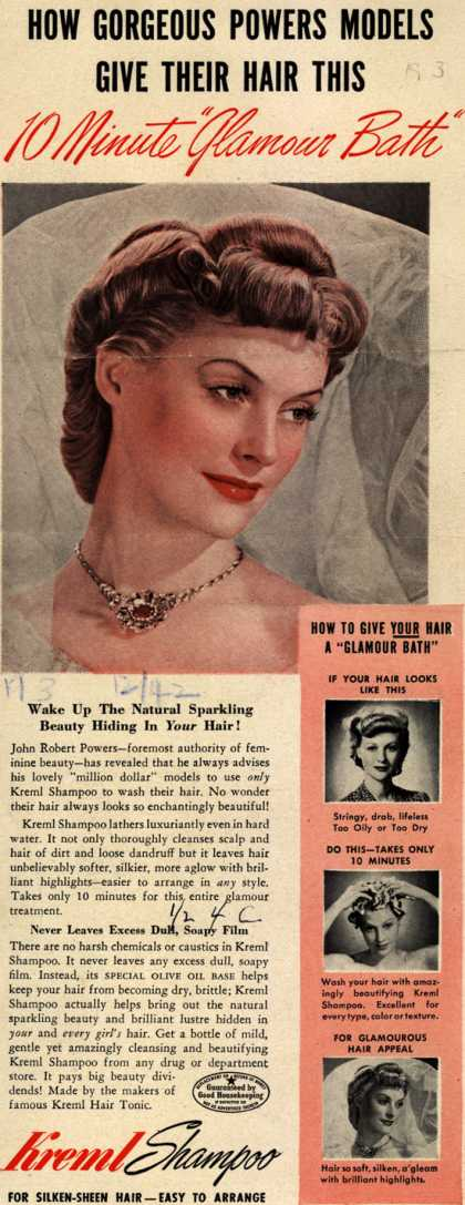 "Kreml's shampoo – How Gorgeous Powers Models Give Their Hair This 10 Minute ""Glamour Bath"" (1942)"