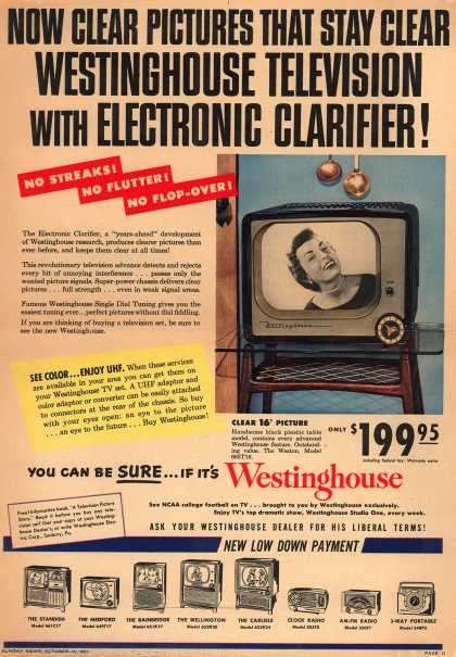 Westinghouse Electric Corporation's Televisions with Electronic Clarifier – Now Clear Pictures that Stay Clear. Westinghouse Television with Electronic Clarifier (1951)