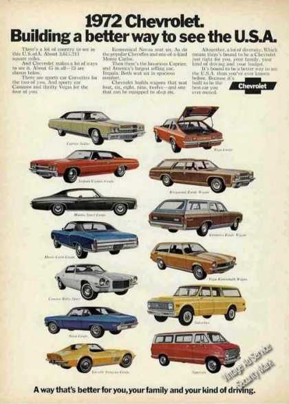 Chevrolet Lineup (13 Cars) Color (1972)