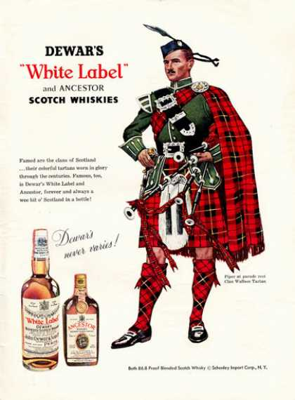 Dewar White Label Whisky Wallace Tartan Bagpipe (1957)