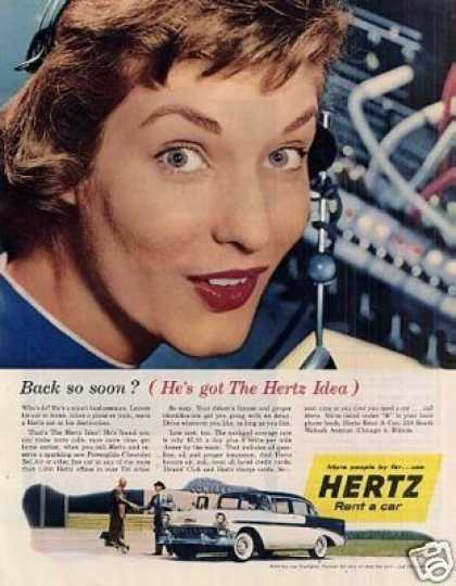Hertz Rent a Car Ad Chevrolet Bel Air (1956)