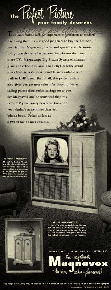 Magnavox Company's 21 inch televisions – The Perfect Picture your family deserves (1953)