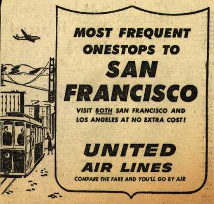 United Air Line's San Francisco – Most Frequent Onestops to San Francisco (1954)