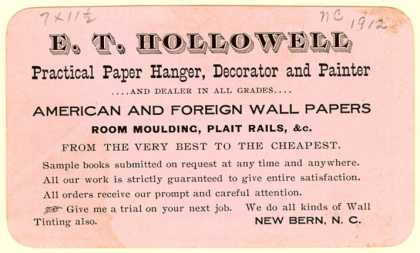 E. T. Hollowell's Wall Paper Hanger/Painter – E. T. Hollowell (1912)