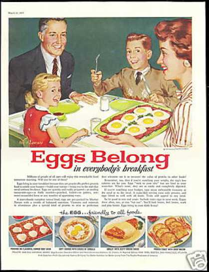 Eggs Family Breakfast Roy Anderson Vintage Art (1957)