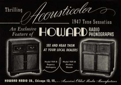 Howard Radio Company's Radio Phonographs – Thrilling Acousticolor 1947 Tone Sensation (1947)