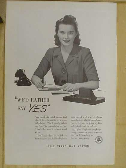 Bell Telephone System. We'd rather say Yes (1941)