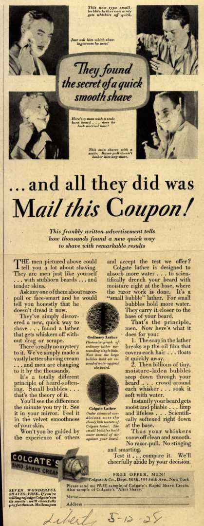 Colgate & Company's Colgate's Rapid-Shave Cream – ...and all they did was Mail this Coupon (1928)
