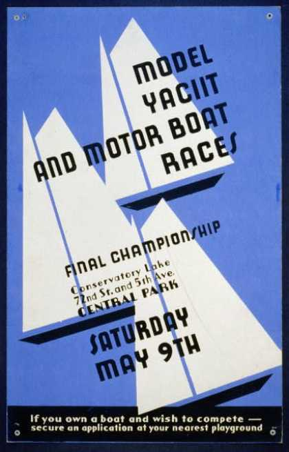 Model yacht and motor boat races – Final championship, Conservatory Lake 72nd St. and 5th Ave., Central Park. (1936)