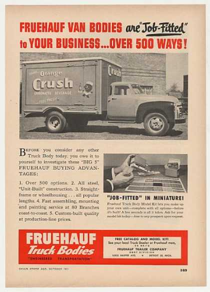 Orange Crush Soda Fruehauf Truck Body Photo (1951)