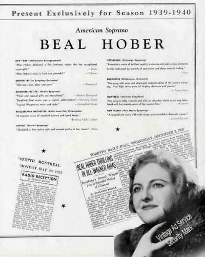 Beal Hober Photo American Soprano Trade (1939)