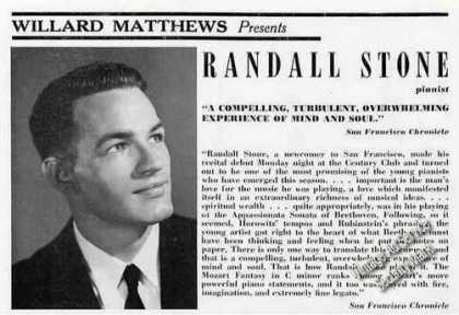 Randall Stone Photo Pianist Booking (1961)