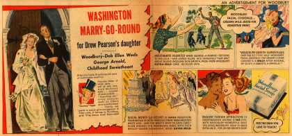 Woodbury's Facial Soap – Washington Marry-Go-Round for Drew Pearson's daughter. Woodbury-Deb Ellen Weds George Arnold, Childhood Sweetheart (1947)
