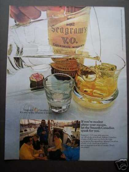 Original Ad Seagram's V.o. Whisky On the Boat (1970)