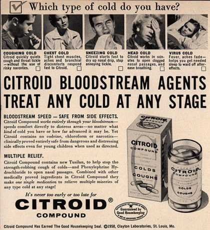 Clayton Laboratorie's Citroid Compound – Citroid Bloodstream Agents Treat Any Cold At Any Stage (1958)