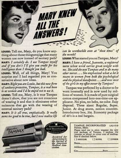 Tampax's Tampons – Mary Knew All The Answers (1942)
