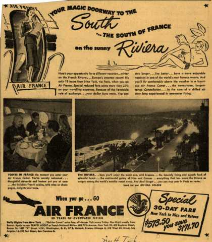 French National Airline's Riviera – Your Magic Doorway To The South... The South of France on the sunny Riviera (1949)