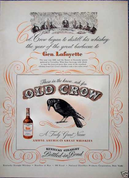 Old Crow Whiskey Gen Lafayette Barbecue Kentucky (1947)