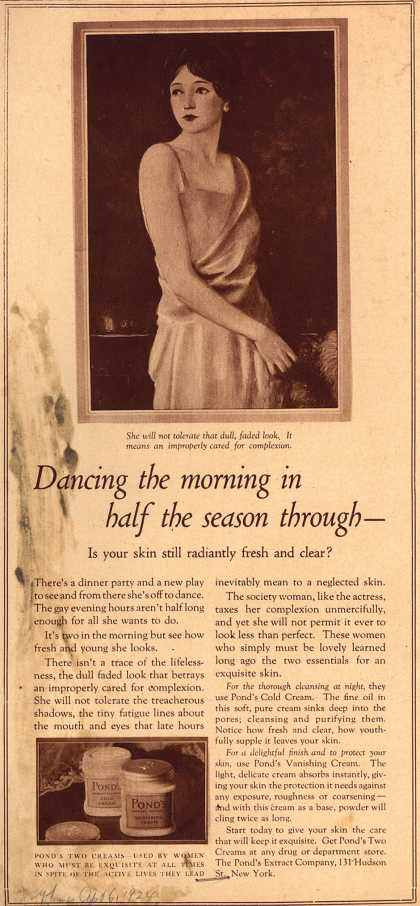 Pond's Extract Co.'s Pond's Cold Cream and Vanishing Cream – Dancing the morning in half the season through (1924)