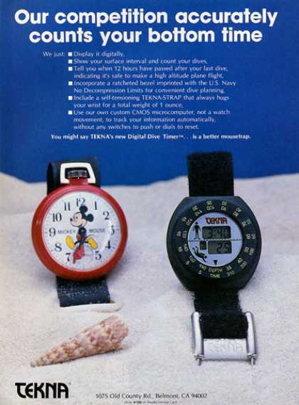 Tekna Mickey Mouse Scuba Dive Timer Ad T (1984)