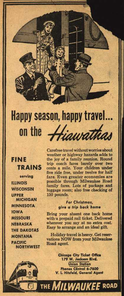 Milwaukee Road – Happy season, happy travel... on the Hiawathas (1954)