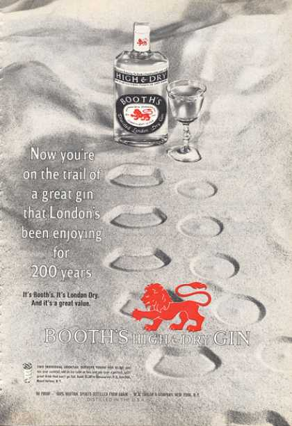 Booth's London Gin Bottle In Sand (1966)
