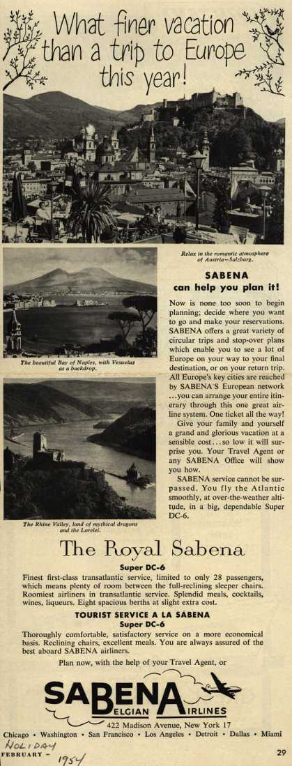 Sabena Belgian Airline's Europe – What finer vacation than a trip to Europe this year (1954)