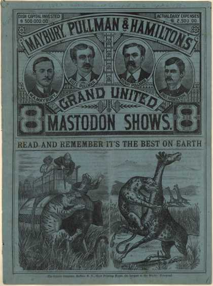 Maybury, Pullman and Hamilton United Mastodon Show's Mastodon show – Mastodon Shows (1882)