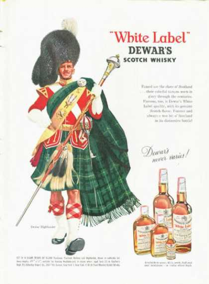Dewar's White Lable Scotch Ad Highlander Dress (1961)