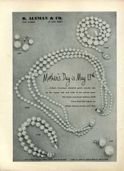 B. Altman & Co Pearl Necklace Bracelet (1951)