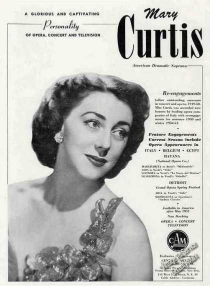 Mary Curtis Soprano Opera-concert-t (1951)