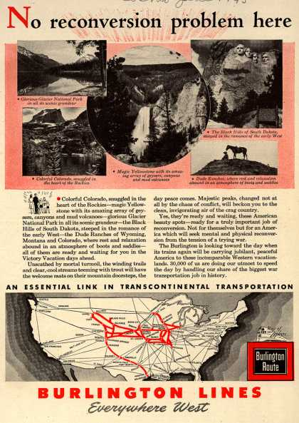 Burlington Line's Western United States – No reconversion problem here (1945)