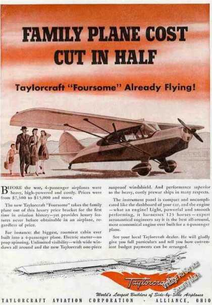 "Taylorcraft ""Family Plane Cost Cut In Half"" (1945)"