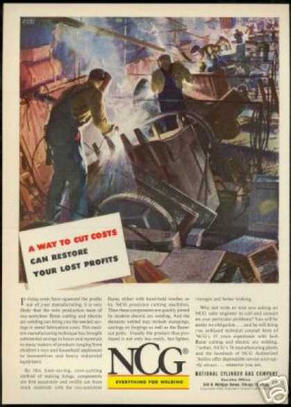 NCG Flame Cutting Welding National Cylinder Gas (1953)