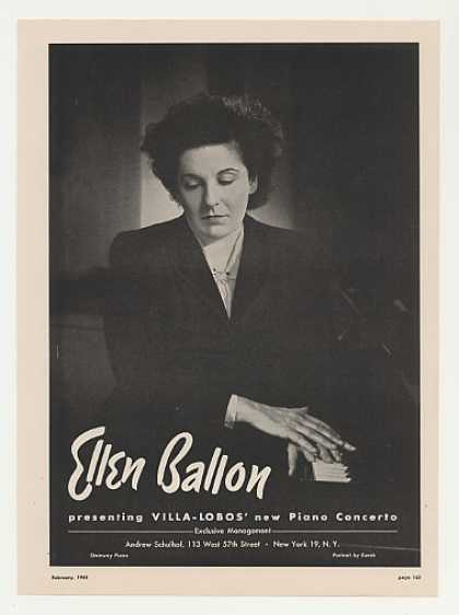 Pianist Ellen Ballon Photo Vintage (1948)