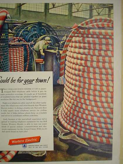 Western Electric Telephone Telecom Fiber cabling theme (1952)
