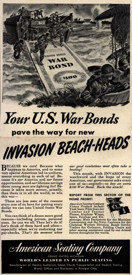 American Seating Company's War Bonds – Your U. S. War Bonds pave the way for new Invasion Beach-Heads (1943)