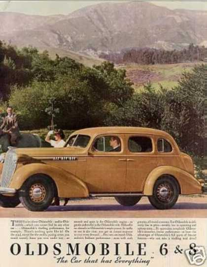 Oldsmobile Car Color Ad 2 Page (1936)