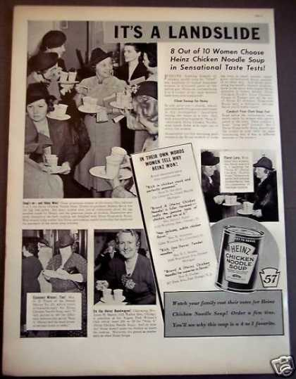 8 of 10 Women Choose Heinz Chicken Noodle Soup (1939)