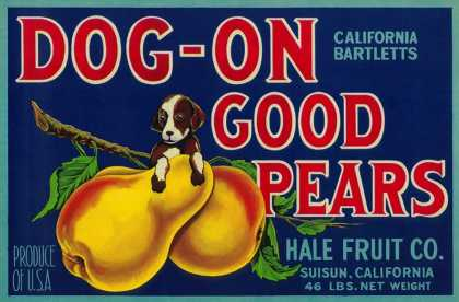 Dog On Good Pears Pear Crate Label – Suisun, CA