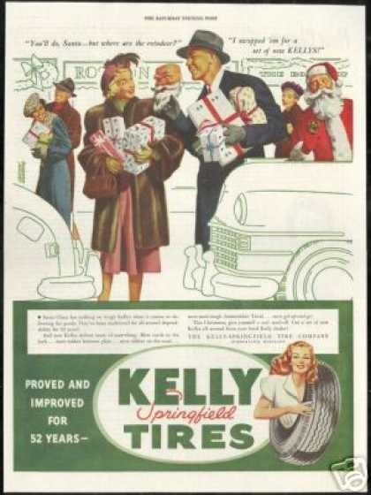 Christmas Present Shopping Santa Kelly Tires (1946)